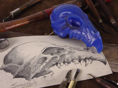 Skull drawing with wax